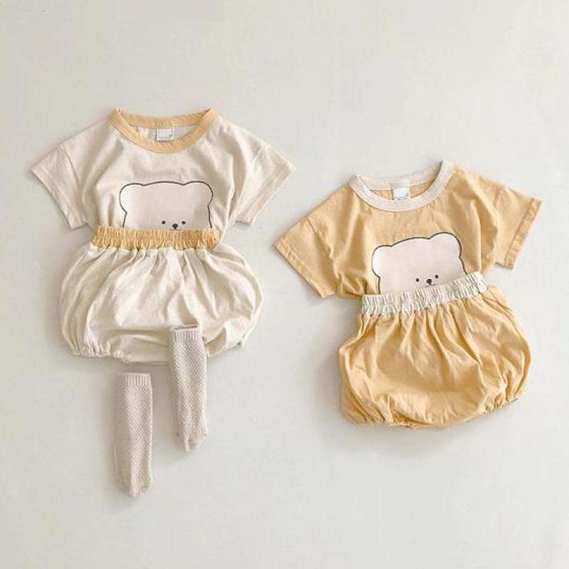 2017 new summer baby clothing set cotton cute pattern vest 2021 Summer New Baby Cute Bear Print Clothes Set Kids Boys Bear Head Pattern T Shirts + Shorts 2pcs Toddler Girls Clothing Set