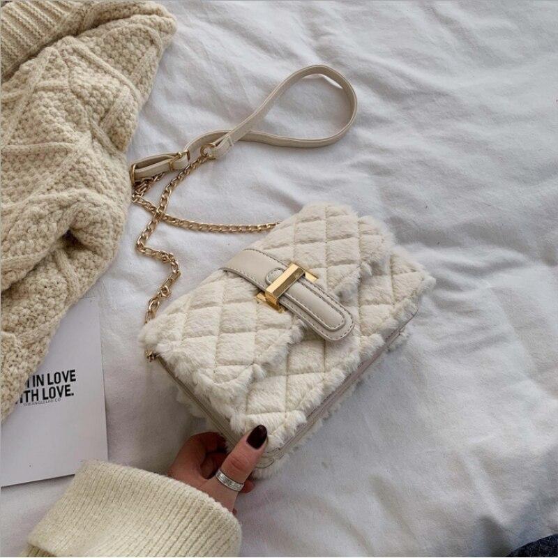 Bolso de piel con solapa esponjosa para Mujer, bandolera de diseñador de...