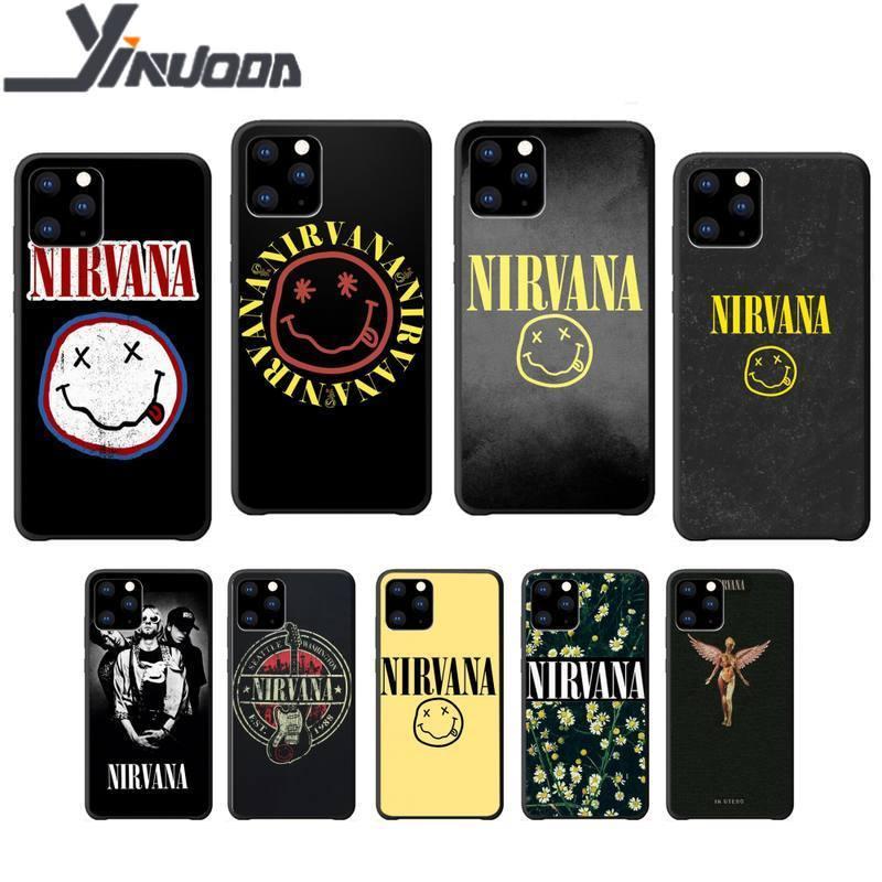 Yinuoda nirvana rock band macio tpu preto caso coque para o iphone se 2020 6s 7 8 plus x xs max xr 11 12 pro max capa