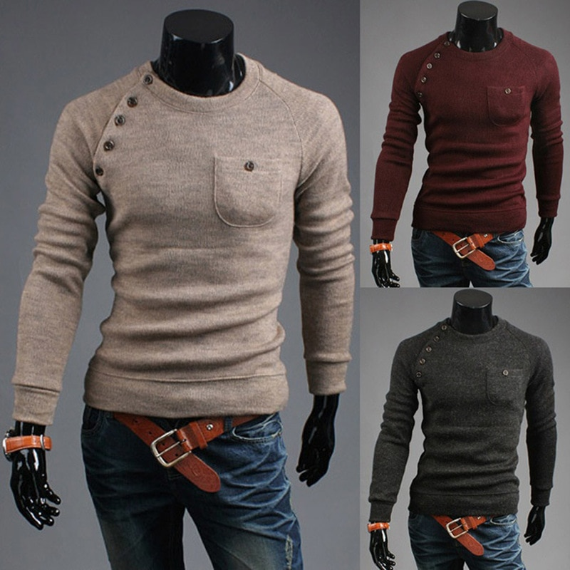 ZOGAA Men Sweater Casual O-Neck Pullover Sweater with Pocket Men Clothes Autumn Solid Slim Pull Homme Cashmere Thin Sweater Tops
