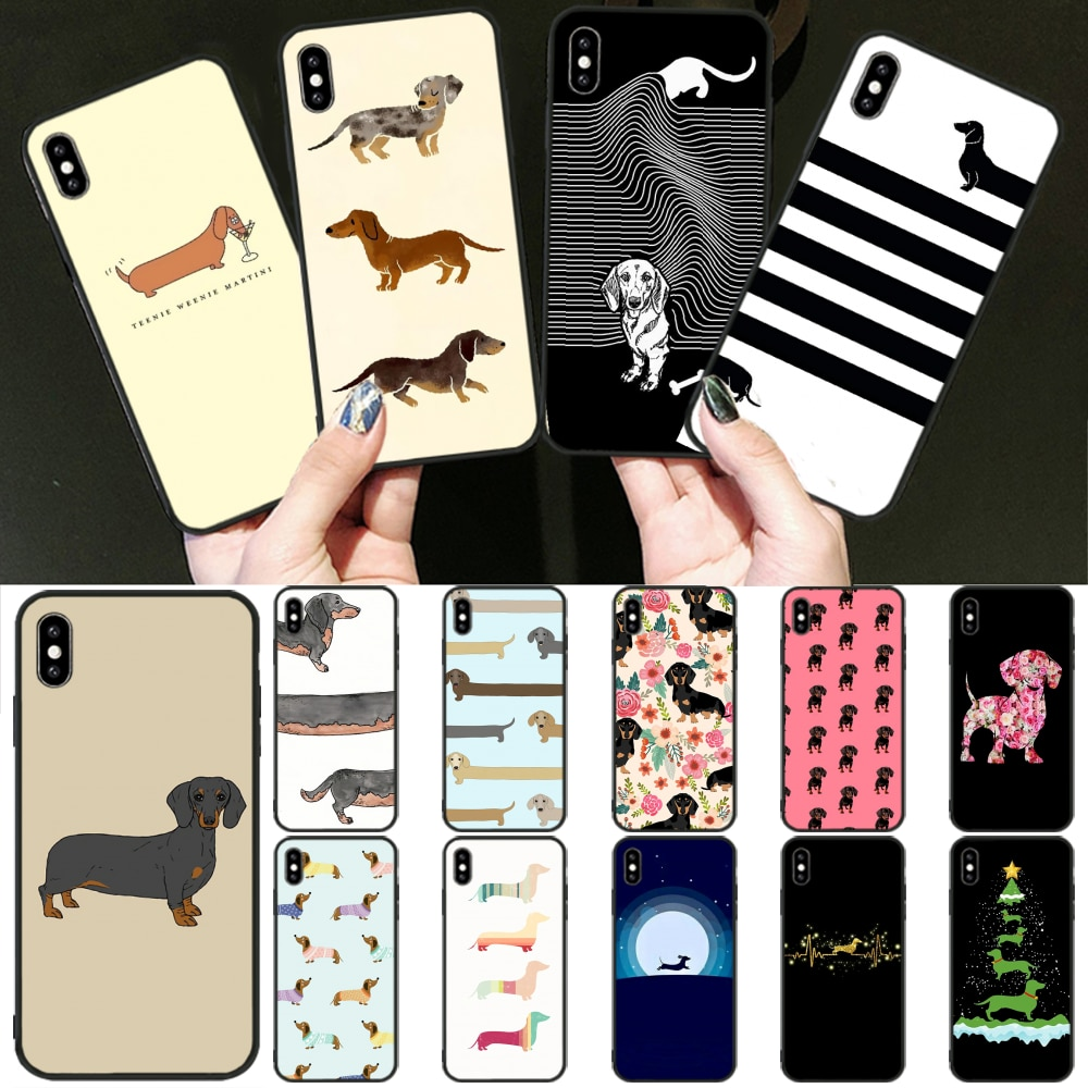 Funda de teléfono negra blanda de perro salchicha de dibujos animados para iPhone 11 pro XS MAX 8 7 6 6S Plus X 5 5S SE XR