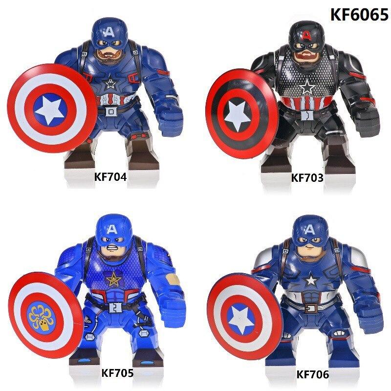 KF6065 Disney Marvel Фильм Мстители Капитан Америка большие строительные блоки кирпичи экшн-фигурки Детские образовательные игрушки подарки на ден...