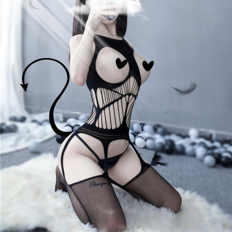 Sexy Lingerie costumes Lace Off Shoulder Fishnet Bodysuit Women Topless Mesh Sex Clothes Perspective
