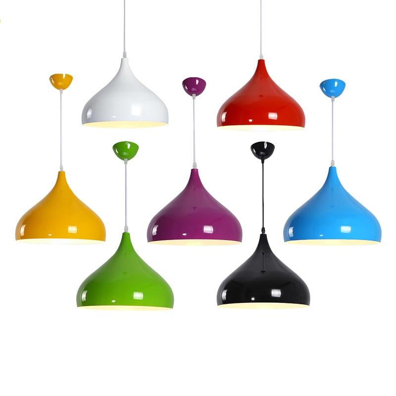 Lámpara colgante nórdica de Luces colgantes modernas, lámpara colgante colorida de aluminio para cafetería, restaurante, lámpara colgante de cocina