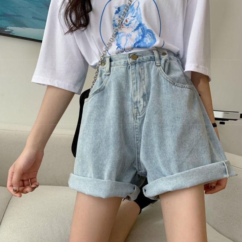 Women's Denim Shorts thin leg Classic High Waist Blue Wide Leg Female Caual Summer Ladies Shorts Jeans For Women plus size