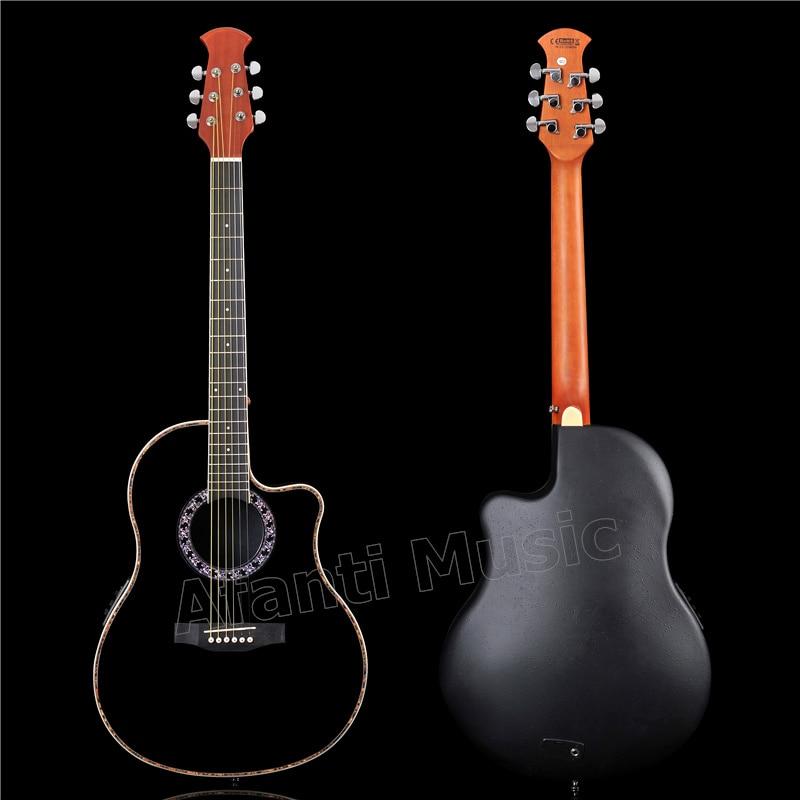 Guitarra acústica lateral y trasera de fibra de carbono Afanti Music con LED EQ (ANT-138)