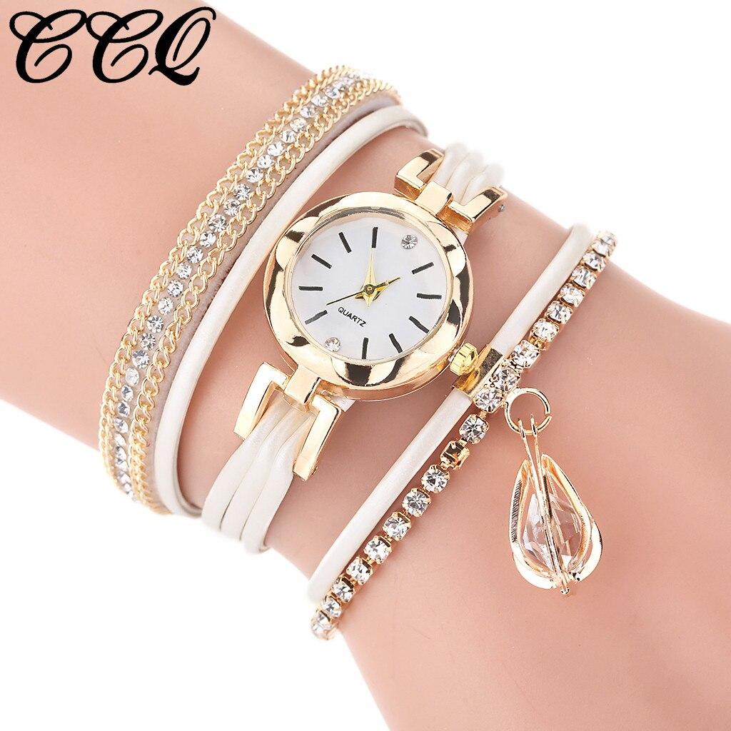 часы CCQ Top Brand Women Watches Fashion Analog Quartz Rhinestone Pendant Bracelet Watch Ladies