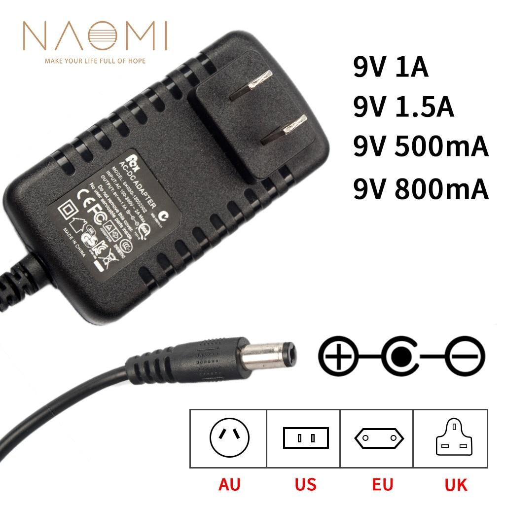 Adaptador de corriente para Pedal de efectos de guitarra de 9V 1.5A 1A 800mA 500mA US AU EU UK adaptador de cargador