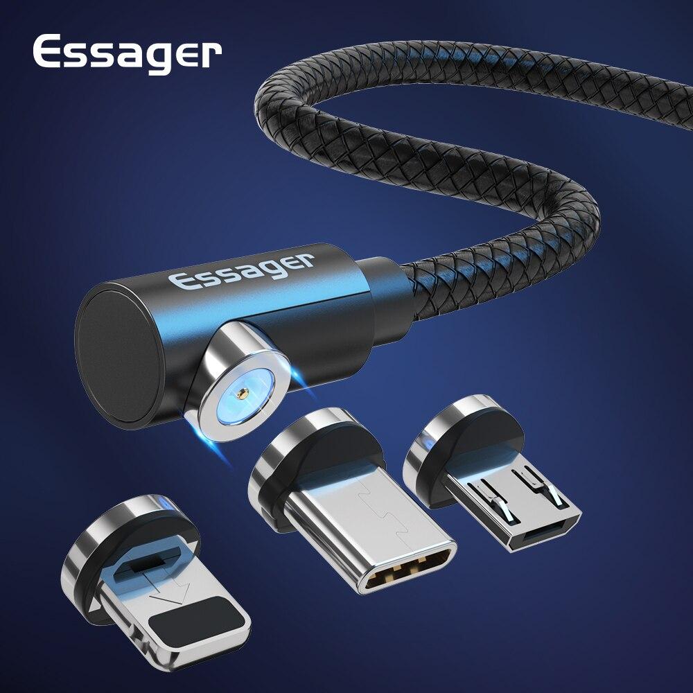 Магнитный кабель Essager, Micro USB Type C адаптер, зарядное устройство для iPhone 11 XS Xiaomi mi 9 Redmi, кабель для быстрой зарядки, магнитный шнур для телефона