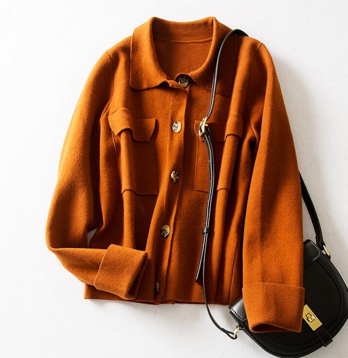 Camisola feminina primavera caramelo casaco lapela dupla bolso lã malha casaco feminino