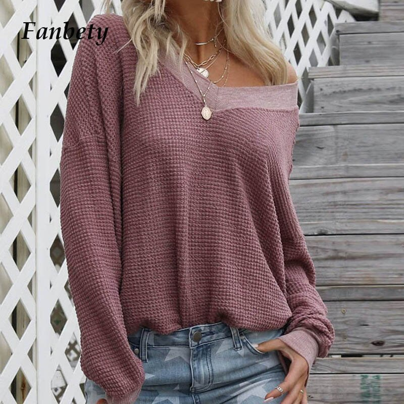 Fanbety Women Sexy Off Shoulder Waffle Knit sweater 2019 Autumn Long Lantern Sleeve Pullover Lady v neck Loose streetwear Jumper