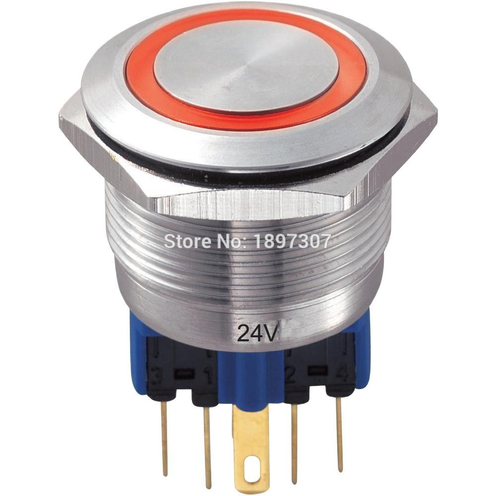 10 шт., водонепроницаемые кнопочные переключатели из нержавеющей стали, 22 мм, 3 в, 6 в, 12 В, 24 В, 110 В, 220 В