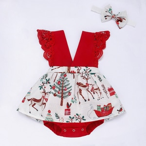 Flofallzique Summer Baby Girl Romper Elk Christmas Tree Pattern Sweet Lace Bow Headband Casual Cute Toddler Kid Clothes