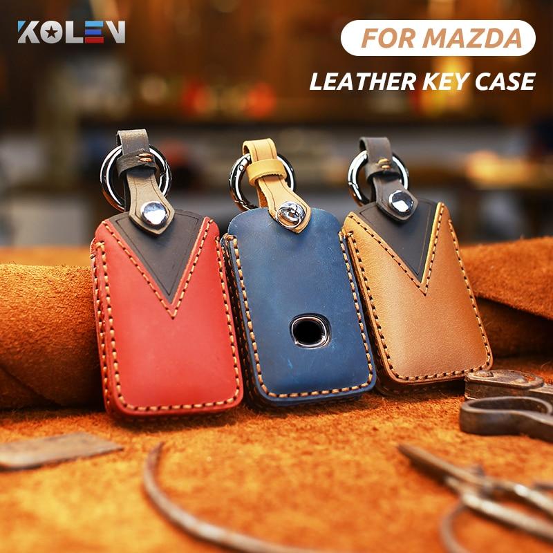 Leather Car Remote Key Case Cover Wallet Fob For Mazda 3 Alexa CX4 CX5 CX8 CX9 CX-30 2018 2019 2020