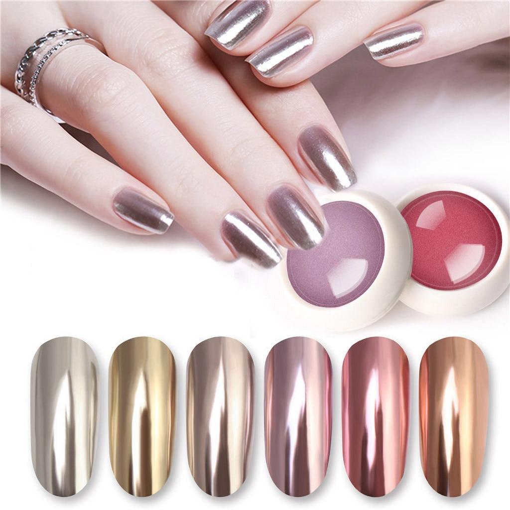 1 Box Gold Mirror Powder Chrome Effect Nail Polish Foil Nails Art Glitter Silver Holographic Powder Fashio On Nails Arte De Unas