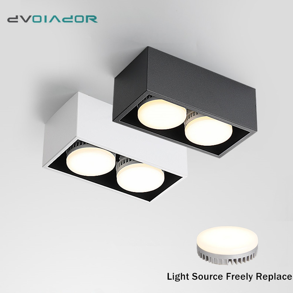 Lámpara LED de techo, foco led de luz descendente montado en superficie, 12w, 24w, bombilla led reemplazable, punto de rotación de 45 grados para iluminación del hogar