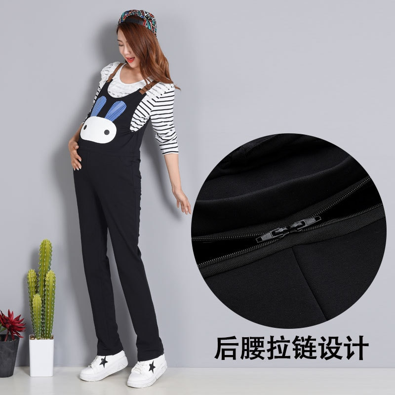 Pregnancy Pants Suspender Trousers Maternity Overalls for Pregnant Mommy Buttock Zipper Easy for Toilet Fall Pregnant Dungarees
