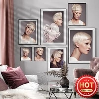 modern fashion beauty short hair art canvas painting poster beauty salon hair salonma make up store wall decor wall picture