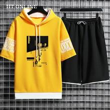 Mens Casual Sets Hooded Sportswear Harajuku Short Sleeve T-shirt+Fashion Shorts 2 Piece Printing Tra