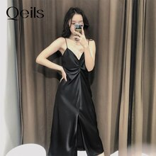 Qeils Women's Sexy Chic Fashion Pleated Solid V Neck Spaghetti Strap Mid-Length Dress Casual Vintage