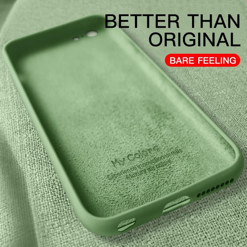 Capa macia fina para iphone 11 8 7 6 s plus capa de silicone líquido original cor doces coque para iphone x xs max xr 11 pro max