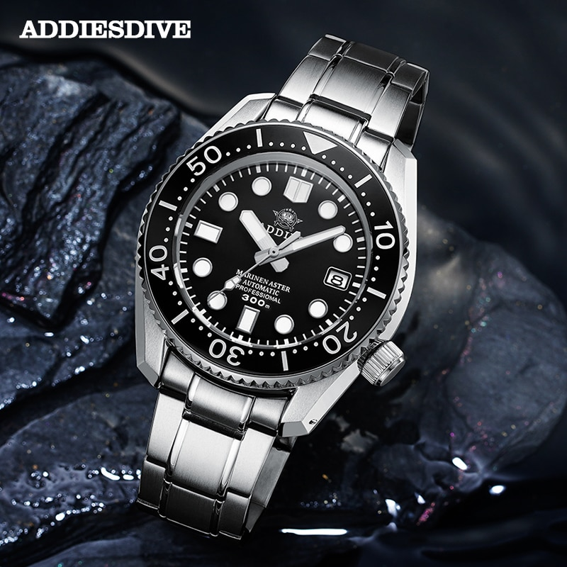 Addies Mechancial Automatische Uhr Japan NH35a Sapphire Kristall Stahl Dive Uhr 300m 316L Alle In Einem Fall C3 Leucht 300M Dive