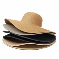 summer solid color straw hat women big wide brim beach hat simple foldable travel sun hat sunscreen uv resistant panama sun cap