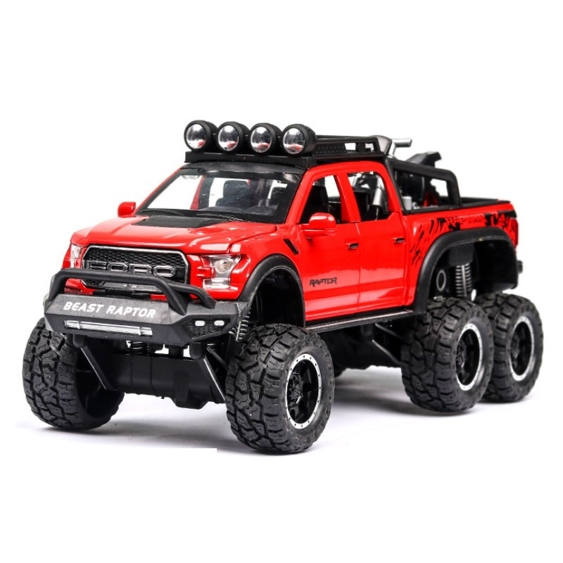 1 32 mini alloy pickup truck ford raptor f150 pick up alloy model toy car for sound and light and sliding car 1: 28 simulation Ford F150 Raptor off-road alloy car model children's sound and light toy car birthday gift red car