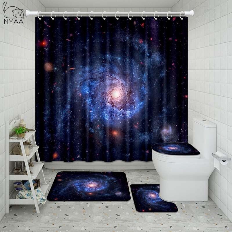 Vixm Galaxy Night Starry Bathroom Waterproof Shower Curtain Set Pedestal Rug Lid Carpet Toilet Cover Set Bath Curtain Mat Set