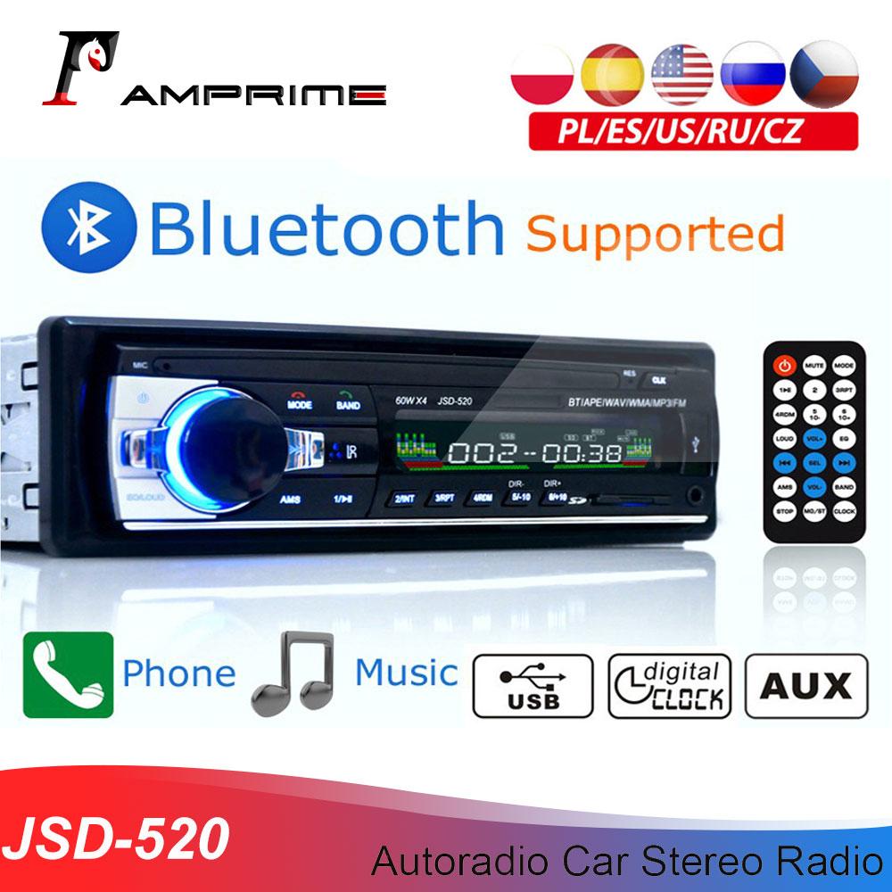 Amprime bluetooth autoradio carro estéreo rádio fm aux entrada receptor sd usb JSD-520 12v in-dash 1 din carro mp3 multimídia player