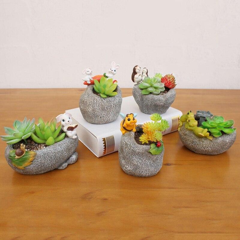 Цветочный горшок с милым мультяшным животным, садовый горшок из смолы, домашний декоративный горшок для цветов, горшок с искусственным камн...