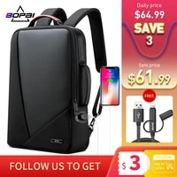 bopai business backpack mens bagpack trend leisure travel backpacking usb charging port simple fashion computer bag