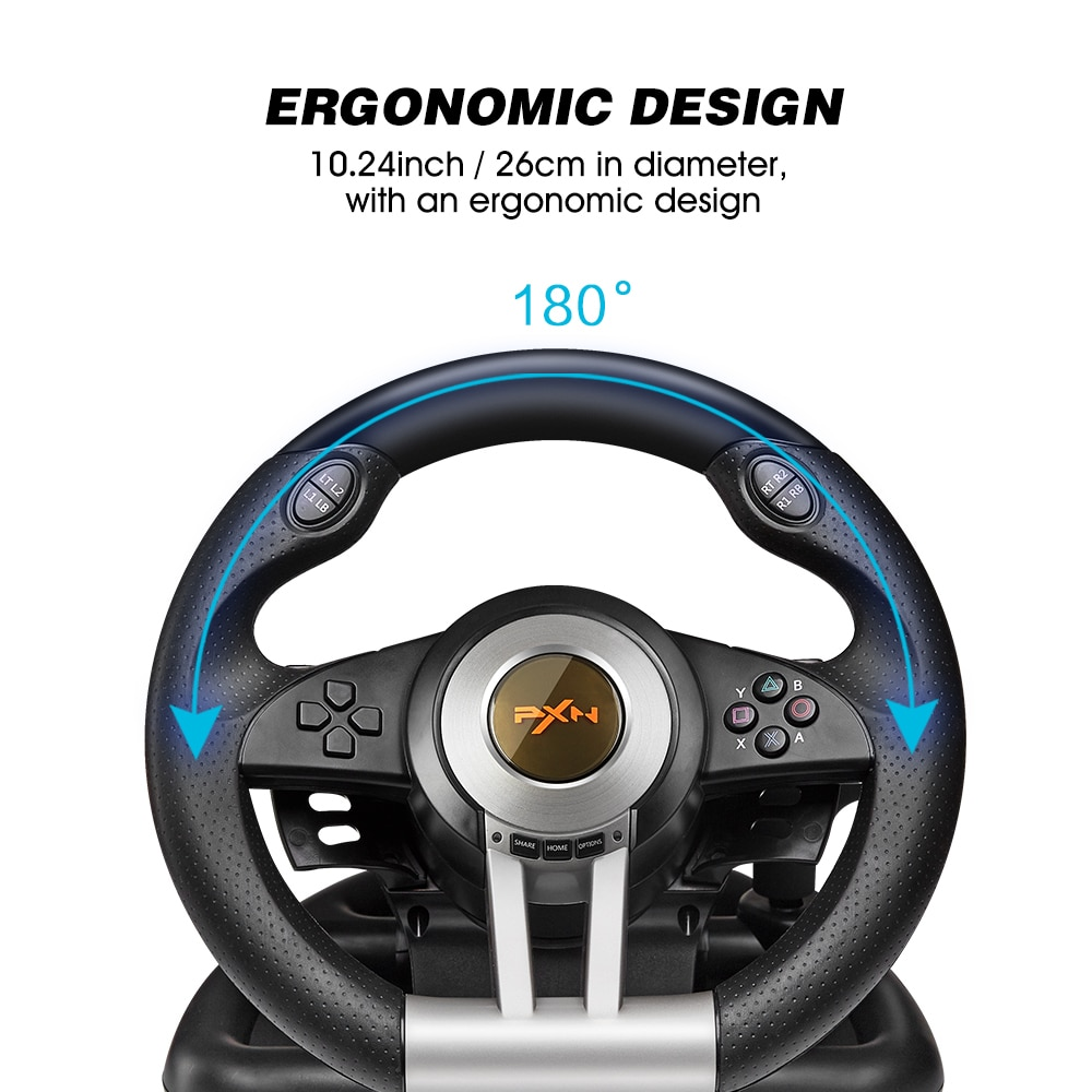 Steering Wheel for Computer Volante PC PS4 Racing Wheel PXN Racing Game 180° for PS3/Xbox One/Nintendo Switc/Xbox Series X/S