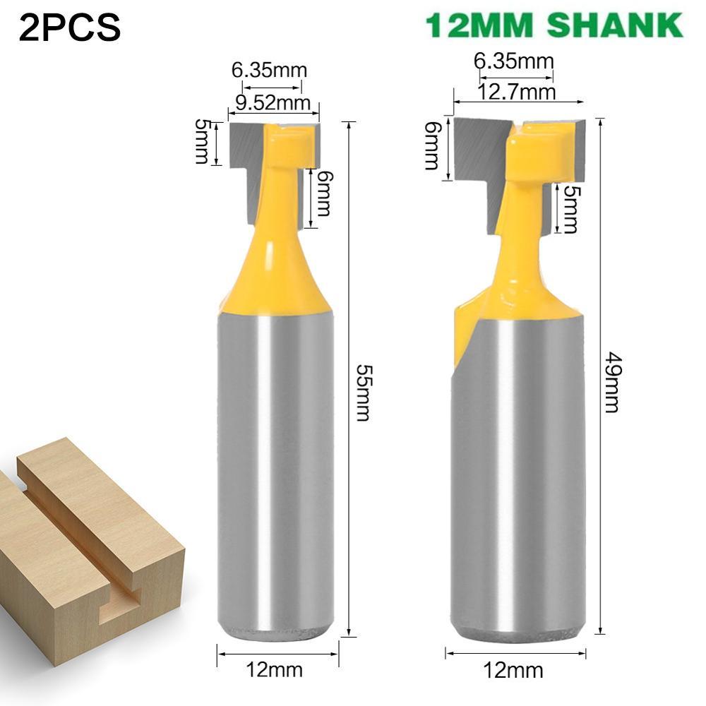 1-2 pces 12mm shank t-slot keyhole cortador de madeira roteador bit cortador de carboneto para madeira hex parafuso t-track entalho fresas