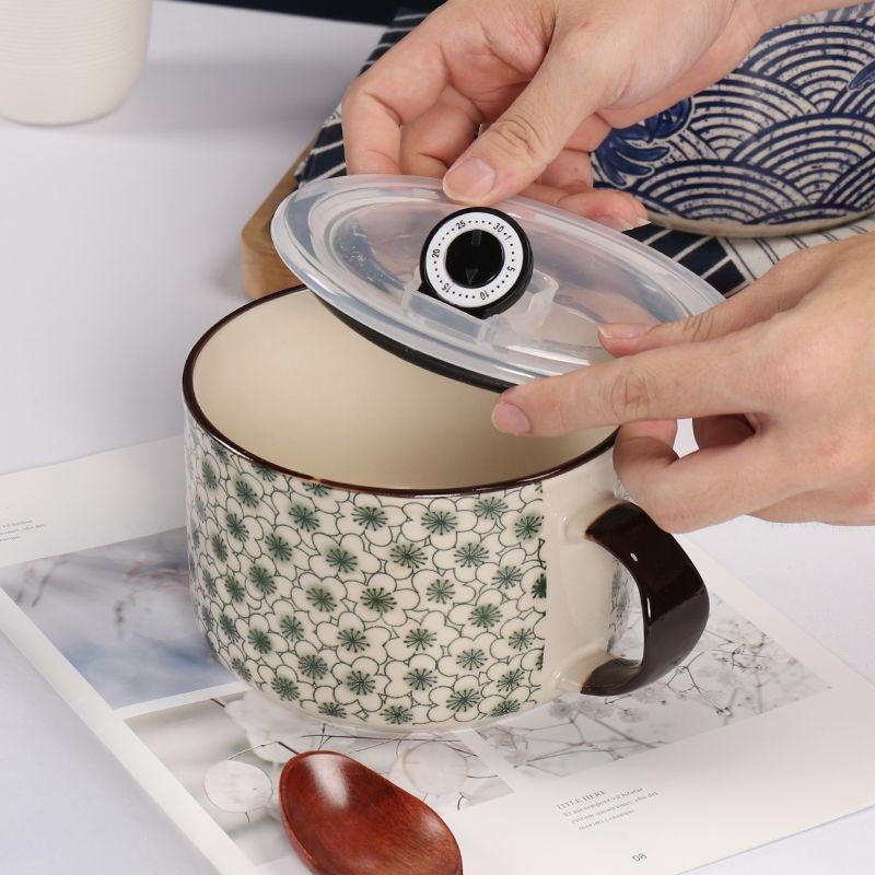 Japonés de cerámica cuenco para Fideos Instantáneos de la caja de almuerzo vajilla creativo lindo copa de fideos instantáneos Set de cuencos para sopa con tapa 800ML Ramen
