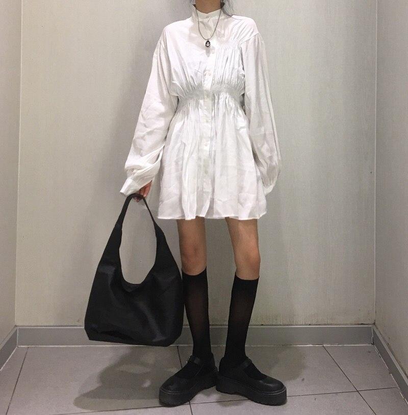 2019 Nova Moda Outono Do Vintage Elegante Vestido de Manga Comprida Único Breasted Magro Túnica Cintura Alta Casual Drapeado Mini Vestido Sexy