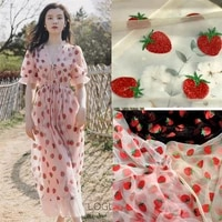 5 colors bronzing printing fabric hot stamping printing lace fabric red strawberry tulle mesh lace