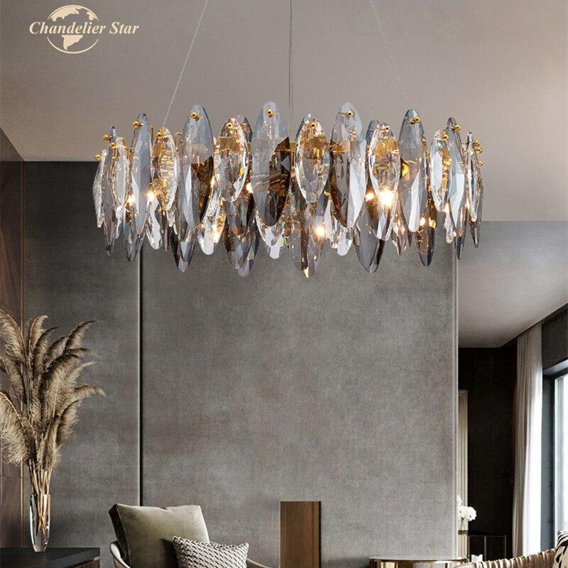 الحديثة LED الثريات الإضاءة الكريستال مستديرة طويلة الحديد مصابيح بريق المنزل الديكور غرفة نوم غرفة المعيشة غرفة الطعام أضواء