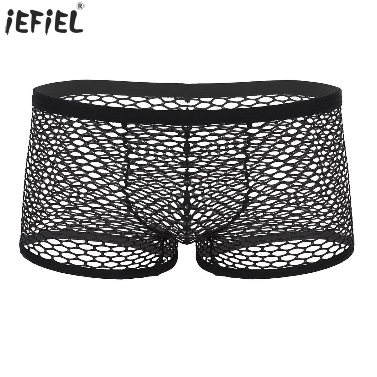 Boxer boxer shorts respirável ver através de pura fishnet sexy cueca gay baixo aumento transparente malha boxer shorts roupa interior exótica