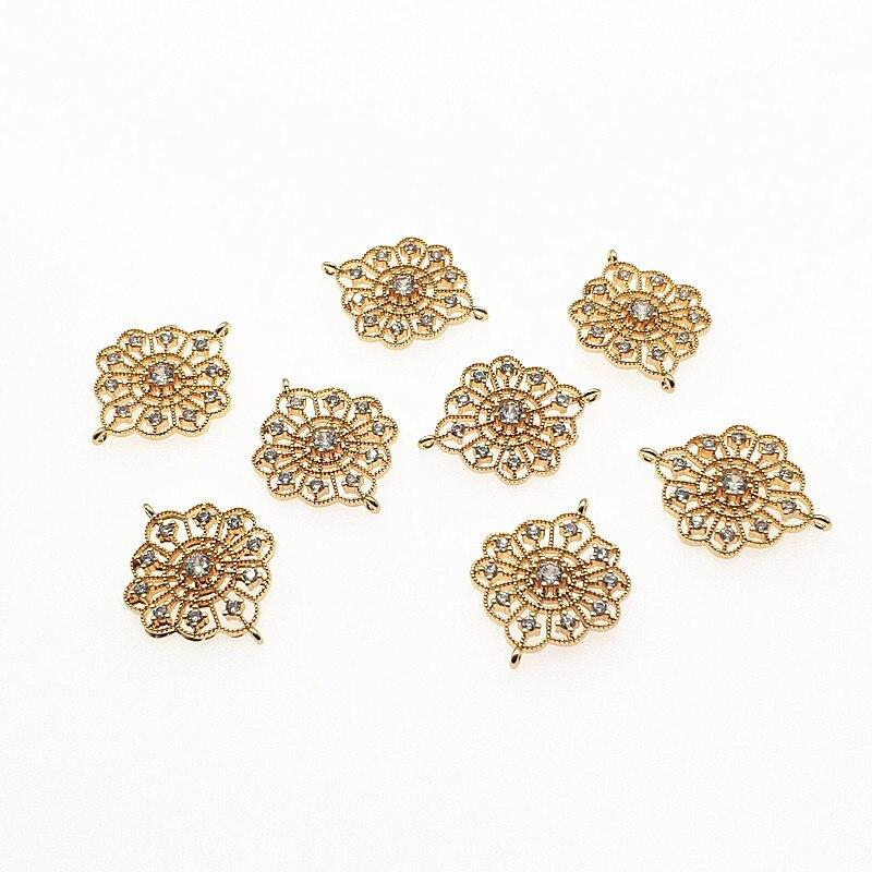 Chegada de novo! 25x19mm 50 pces cobre/zircônia cúbica flor forma charme para brincos que fazem/peças diy, jóias encontrando & componente