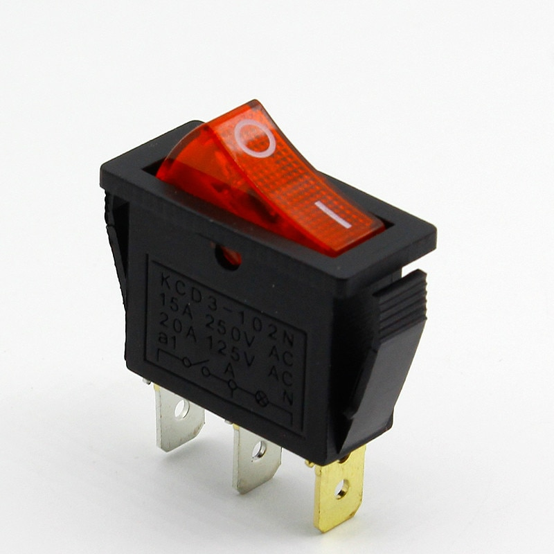 5pcs/lot RED LED Light 3PIN SPST ON/OFF G132 Boat Rocker Switch 15A/250V 20A/125V Car Dash Dashboard Truck RV ATV Home
