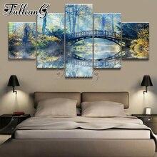 FULLCANG forêt arc pont bricolage 5 pièce diamant peinture rivière pleine carré rond forage mosaïque broderie kit décor à la maison FC2392
