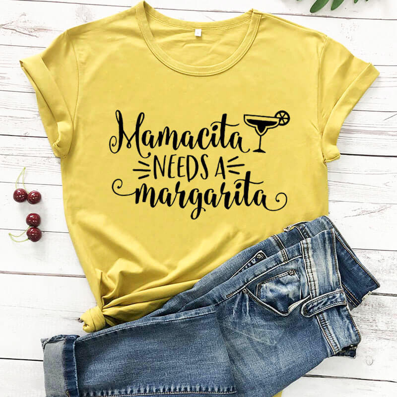 Mamacita Needs a Margarita funny women t shirt new arrival 100%cotton casual funny t shirt mother's