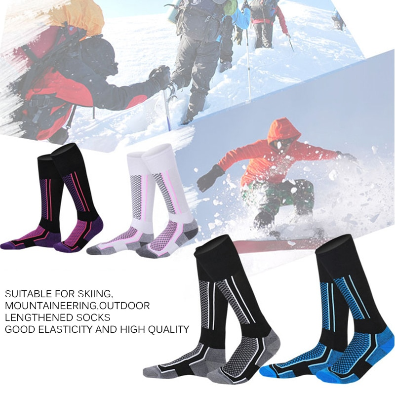 Winter Ski Sports Socks Women Man Thermal Long Ski Shock Absorption Snow Walking Hiking Socks Warm Breathable Snow Sports Socks