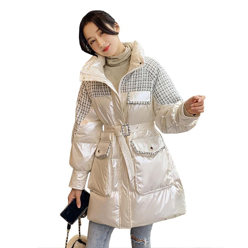 Блестящая Черная куртка-пуховик в клетку, Женское зимнее Стеганое пальто, 2021 пуховик, длинные женские элегантные парки больших размеров