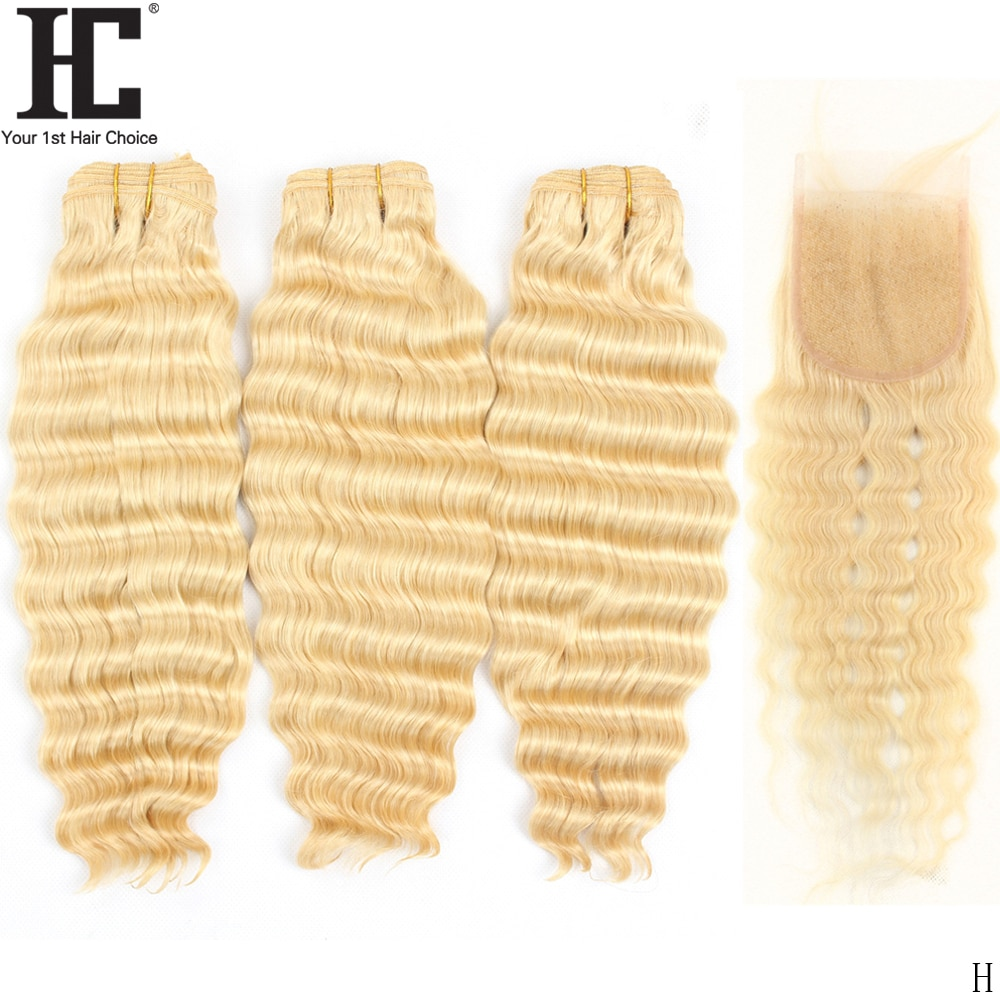 613 Blonde Bundles With Closure Brazilian Loose Deep Wave Remy Human Hair Weave Bundles With Closure 30 32 34 36 38 40 inch HC