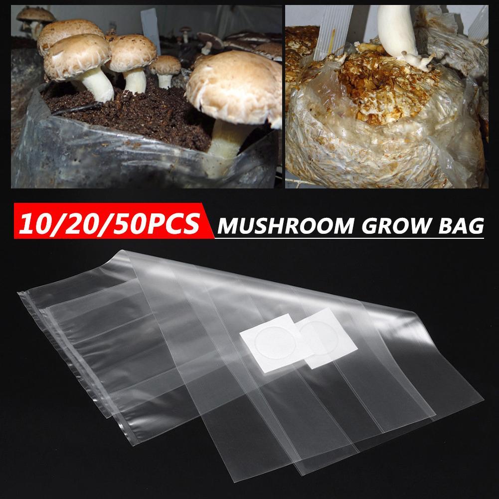 10/20/50 pçs cogumelo estirpe crescente saco cultivo horticultura plantio saco pvc bactérias resistentes respirável crescer saco