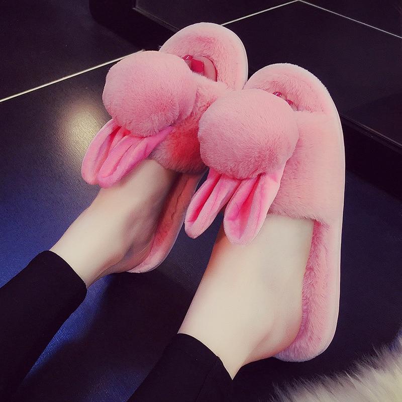 Zapatillas de casa para mujer, calientes, de invierno, suave y esponjoso, zapatos de interior planos para mujer, bonito Conejo, antideslizante, piso, dormitorio, Zapatillas de casa
