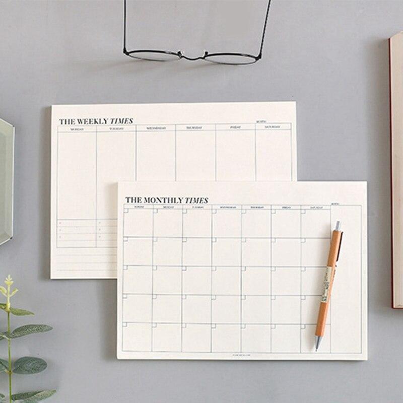 60 листов, простой Настольный график, планировка недели и месяца, блокнот для записей, план эффективности работы, блокнот для записей, офисны...