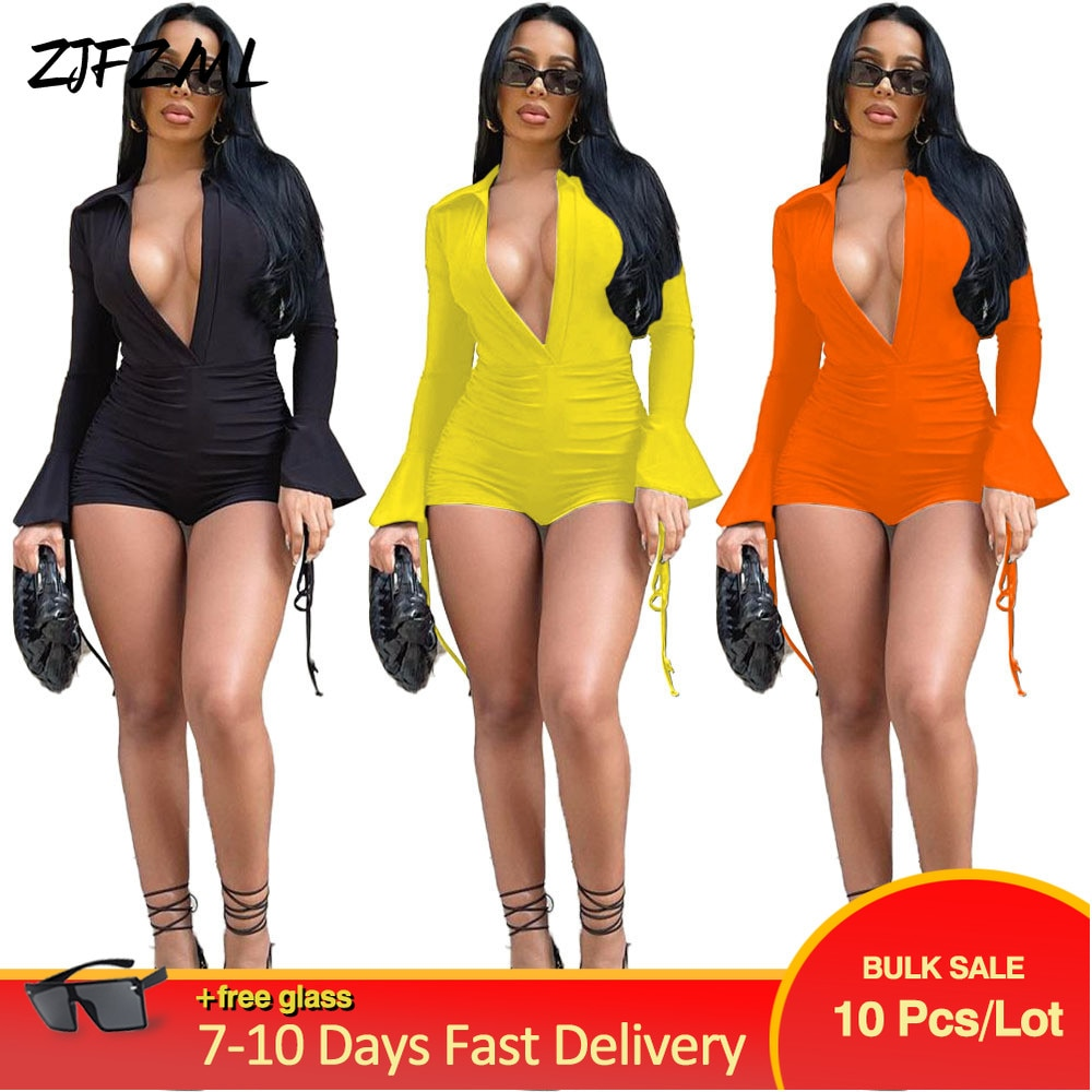 Bulk Items Wholesale Lots Women's Short Jumpsuit Deep V Neck Full Flare Sleeve Romper Chic Fashion Shirring Drawstring Overall